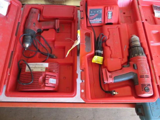 (2) MILWAUKEE CORDLESS DRILLS W/CHARGERS, UNKNOWN MODELS