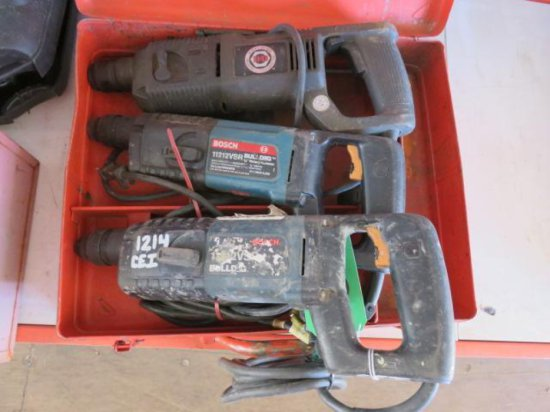 (3) 3/4'' ROTARY HAMMERS, (2) BOSCH BULL DOG AND ONE BLACK & DECKER
