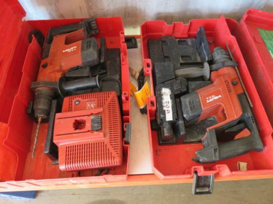 (2) HILTI TE5 HAMMER DRILLS, W/A BATTERY & A CHARGER