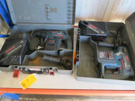 (2) BOSCH THE ANNIHILATOR 11225VSR HAMMER DRILL, 24 VOLT, W/(2) CHARGER & (2) BATTERIES