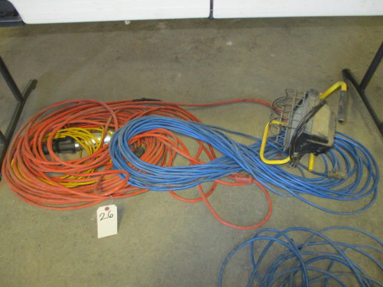 ASSORTED EXTENSION CORDS AND WORK LIGHTS
