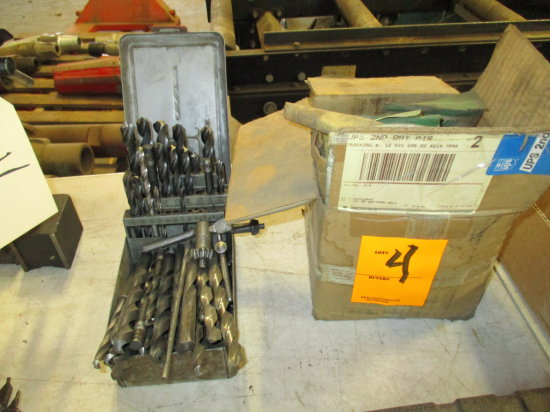 INDEX AND BOX OF ASSORTED DRILL BITS