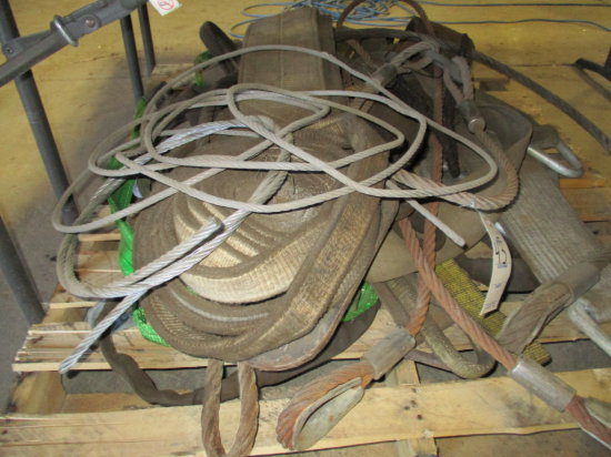 PALLET OF ASSORTED LOAD STRAPS AND CABLES