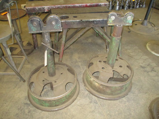 LOT OF 2 PIPE ROLLER STANDS MOUNTED ON TRUCK WHEELS