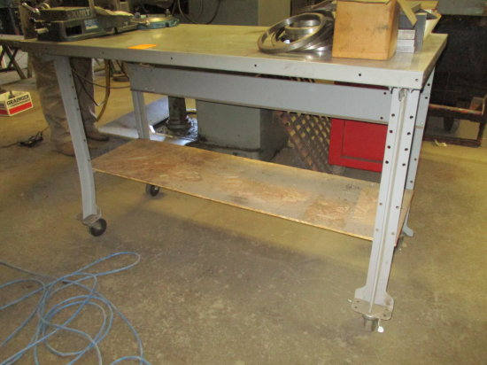 METAL ROLLING WORK TABLE 60''X28''