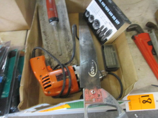 BOX OF DRILL, SAW, TROWEL, TAP AND DIES