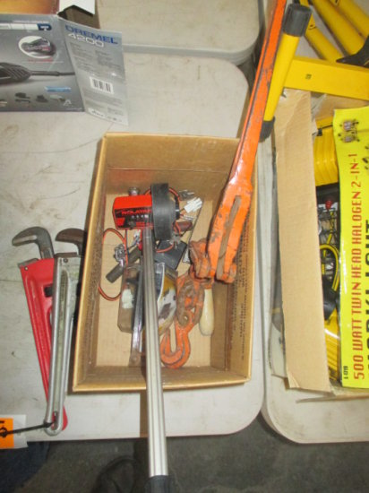 BOX WITH CHAIN BINDER, ROLL TAPE AND ASSORTED TRAILER PLUG WIRES