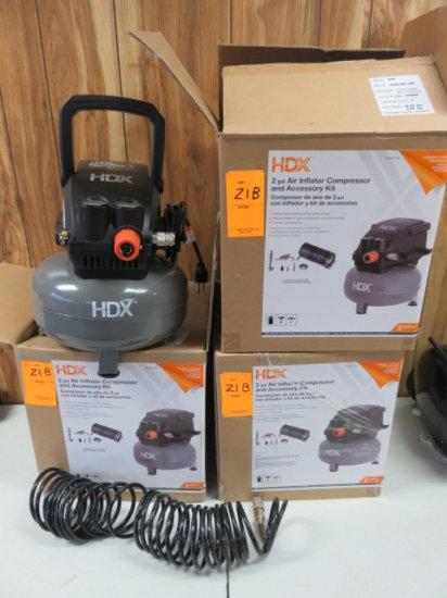 LOT OF 3 HDX 2 GALLON AIR COMPRESSORS (NON-OP)