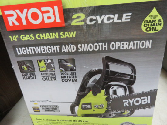 RYOBI 2 CYCLE 14'' GAS CHAIN SAW MODEL RY3714 SN#EU16125D21125