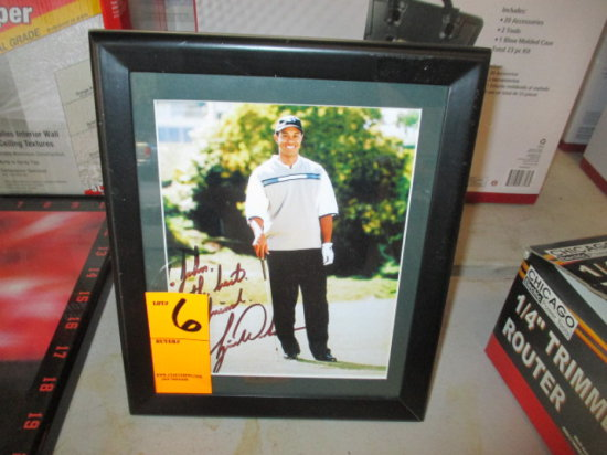 PHOTO OF TIGER WOODS SIGNED ''TO JOHN ALL THE BEST YOUR FRIEND TIGER WOODS'