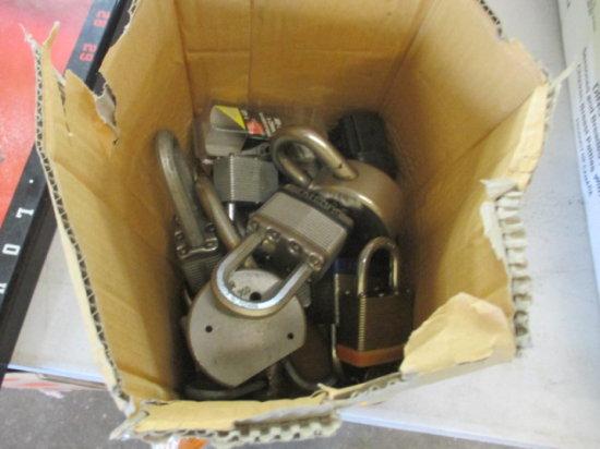 BOX OF ASSORTED PAD LOCKS