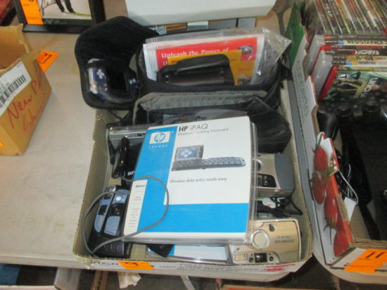 BOX OF ASSORTED CAMERAS AND SOFTWARE