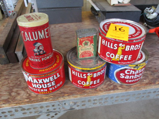 LOT OF OLD TINS, 2 HILLS BROS, 1 MAXWELL HOUSE, 1 CHASE & SANBORN COFFEE, 1