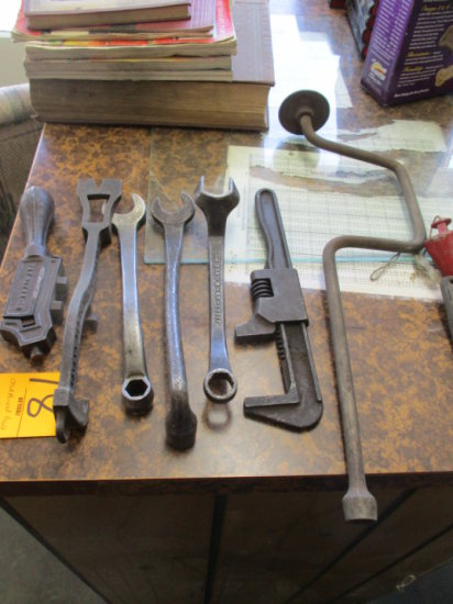 LOT OF OLD HAND TOOLS, 4  FORD WRENCHES, PIPE WRENCH AND SAW TOOTH ADJUSTER