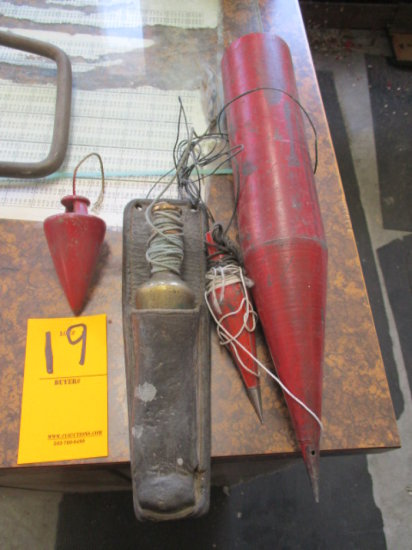 LOT OF 3 STEEL PLUMB BOBS AND 1 BRASS APPEARING