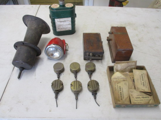 LOT OF 2 FORD MODEL T CAPACITERS, HORN, COIL POINTS, SWITCHES AND BOX OF EA