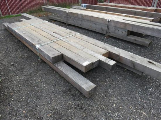 VARIOUS SIZED LUMBER, RANDOM LENGTHS MOSTLY 8'-10', (3) 6'' X 10'', (5) 6'' X 8'', (5) 6'' X 6''
