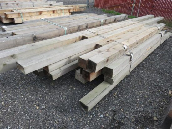 VARIOUS SIZED LUMBER, RANDOM LENGTHS MOSTLY 8'-10', (7) 6'' X 6'', (3) 4' X 8'', (3) 4'' X 6''