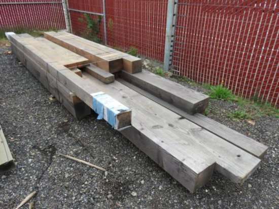 VARIOUS SIZED LUMBER, RANDOM LENGTHS MOSTLY 8'-10', (2) 8'' X 10'', (2) 8'' X 8'', (1) 6'' X 12''