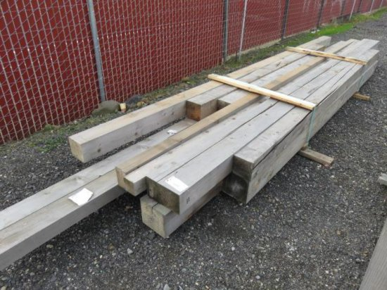 VARIOUS SIZED LUMBER, RANDOM LENGTHS MOSTLY 8'-10', (2) 8' X 8'', (1) 6'' X 10'', (4) 6'' X 6', (1)