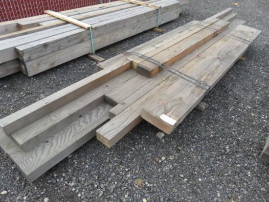 VARIOUS SIZED LUMBER, RANDOM LENGTHS MOSTLY 8'-10', (5) 4'' X 12'', (2) 4'' X 8'', (3) 4'' X 4''