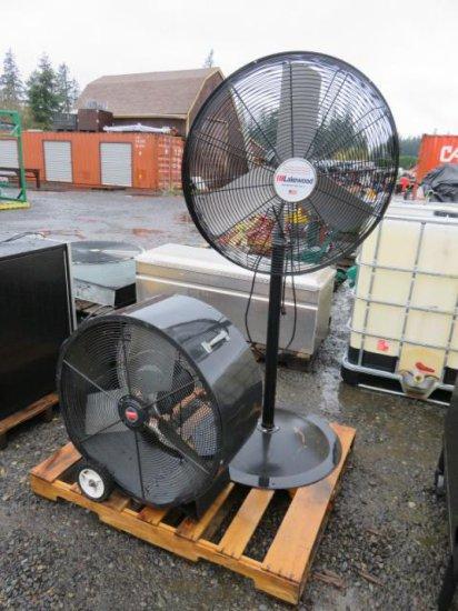 PALLET W/DAYTON 3F301A 30'' ELECTRIC CIRCULATOR FAN, LAKEWOOD HV309/B 30'' STANDING ELECTRIC FAN