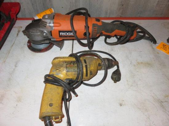 LOT W/DEWALT DW106 3/8'' DRILL & RIDGID R1020 7'' GRINDER, 120 VOLT