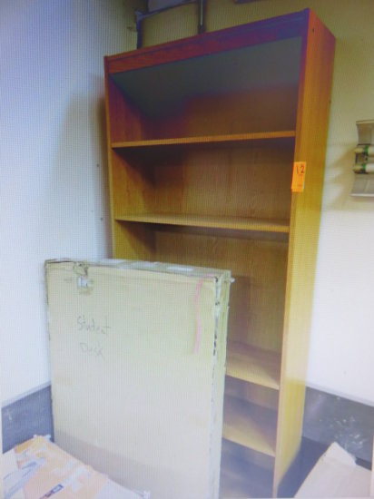 WOOD BOOK CASE AND WOOD STUDENT DESK