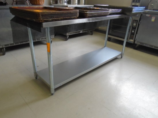 TABLE 6' X 2' STAINLESS 2 SHELF