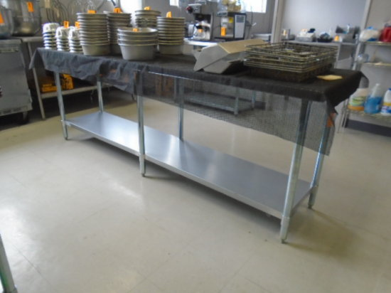 TABLE 8' X 2' STAINLESS 2 SHELF