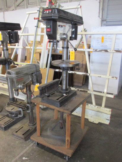 JET DRILL PRESS MDL JDP14J, 14'', 1/2 HP 115 VOLT MOUNTED ON WOOD CART WITH