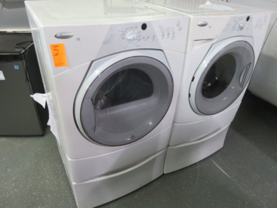WHIRLPOOL FRONT LOAD DUET SPORT WASHER AND DRYER WITH PEDESTALS