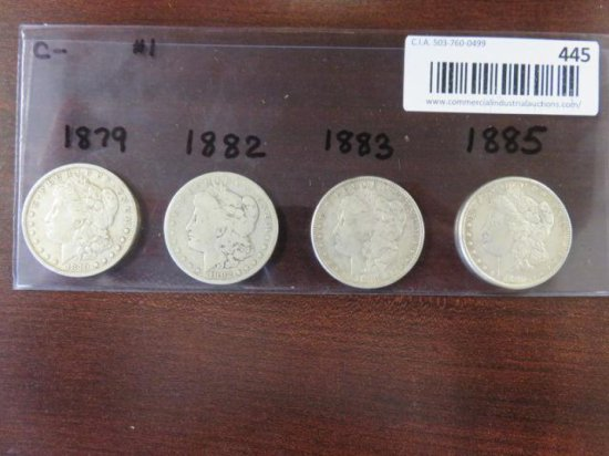 (4) MORGAN SILVER DOLLARS - 1879, 1882, 1883, 1885