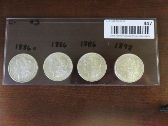 (4) MORGAN SILVER DOLLARS - 1886(o), 1886, 1886, 1898
