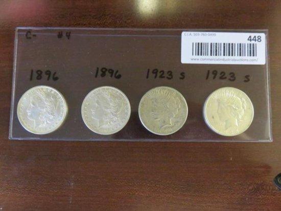 (2) MORGAN SILVER DOLLARS 1896, 1896 & (2) PEACE SILVER DOLLARS - 1923(s), 1923(s)