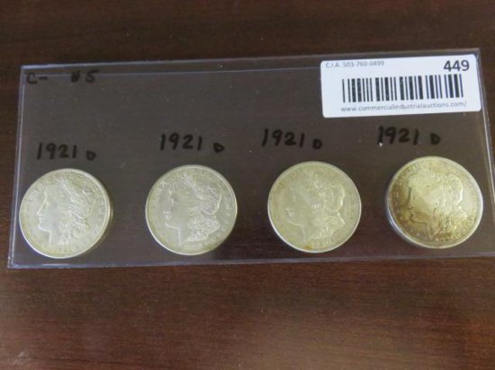 (4) MORGAN SILVER DOLLARS - ALL 1921(d)