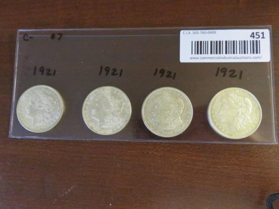 (4) MORGAN SILVER DOLLARS - ALL 1921