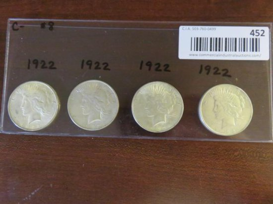 (4) MORGAN SILVER PEACE DOLLARS - ALL 1922
