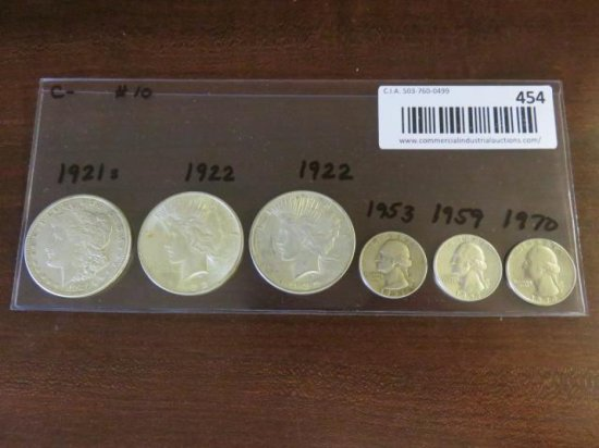 (3) SILVER PEACE DOLLARS - 1921(s), 1922, 1922 & (3) QUARTERS - 1953, 1959, 1970