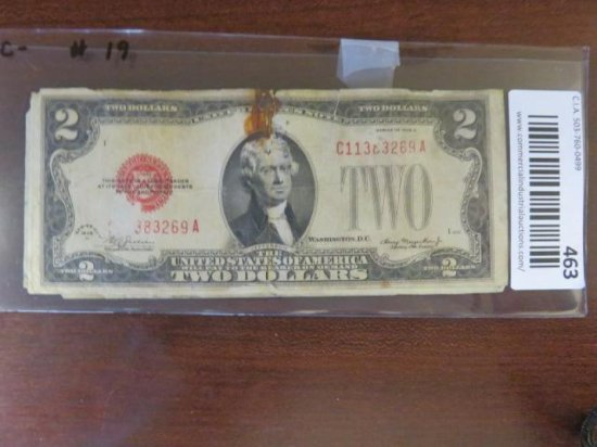 (6) RED SEAL TWO DOLLAR BILLS - 1928(d), (2) 1953(a), 1953(b), (2) 1963