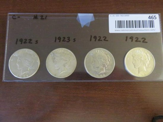 (4) SILVER PEACE DOLLARS - 1922(s), 1923(s), 1922, 1922