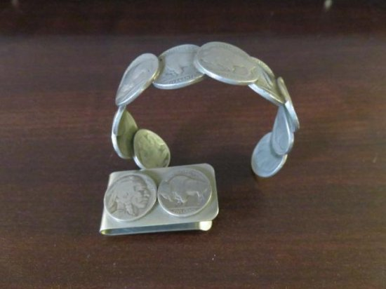 BUFFALO NICKEL BRACELET - 10 NICKELS WITH A BUFFALO MONEY CLIP