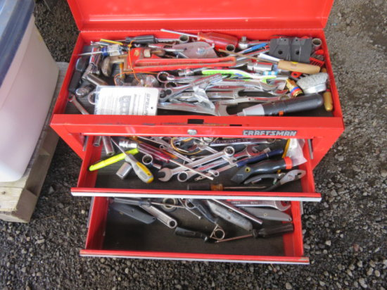 PALLET W/CRAFTSMAN FOUR DRAWER TOOL BOX W/ASSORTED TOOLS