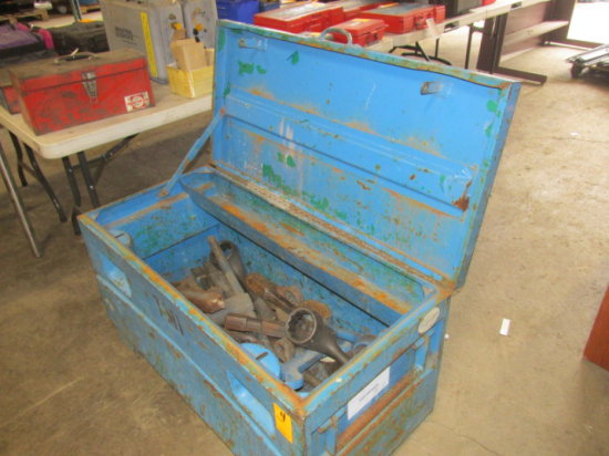 48'' JOB BOX WITH ASSORTED LARGE SPUD WRENCHES