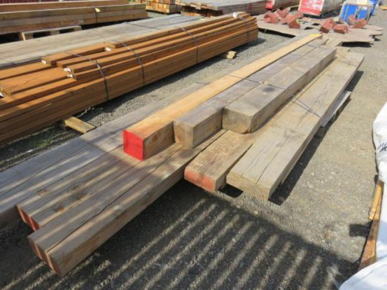 LOT OF LUMBER - 4'' X 6'' & 8'' IN ASSORTED LENGTHS & 6'' X 6'' IN ASSORTED LENGTHS