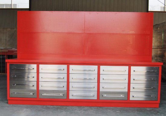 10' 20 DRAWER HEAVY DUTY METAL WORK BENCH W/ 40'' TALL HANGING PEG BOARD