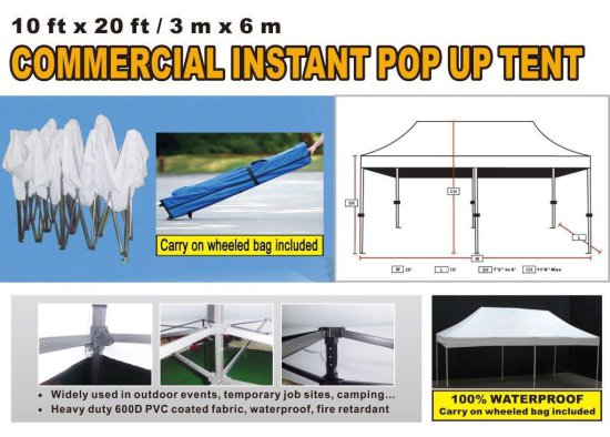 10' X 20' COMMERCIAL INSTANT POP UP TENT