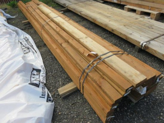 LOT OF ASSORTED SIZED & LENGTH TREATED LUMBER