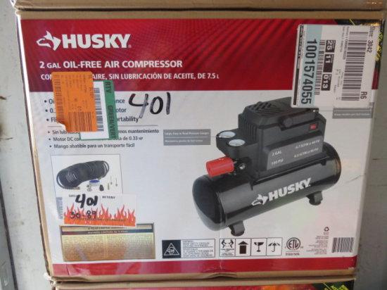 HUSKY 2 GALLON OIL FREE AIR COMPRESSOR