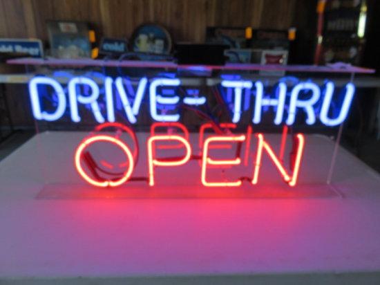 ''DRIVE THRU OPEN'' NEON LIGHT